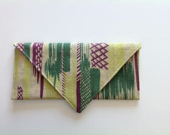 Upcycled barkcloth envelope clutch