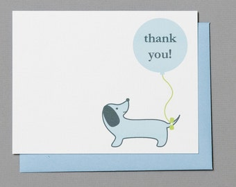 Blue Dog with Balloon Baby Shower (Thank You) A2 Flat Note Cards (Set of 10)