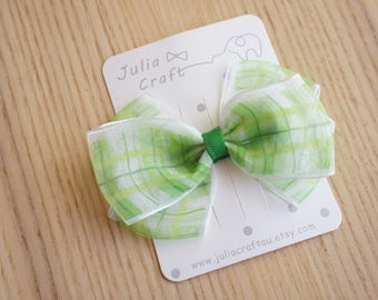 Green Organza Bow Hair Clip, Handmade Hair bow, Baby/Toddler/Girl Hair Clip, Christmas Party-JuliaCraft Australia