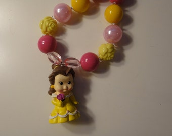 Disney inspired little girl birthday gift party favor princess Belle bubble gum chunky bead necklace