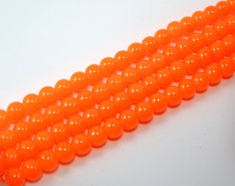 Set of 20 6 mm bright neon orange glass beads