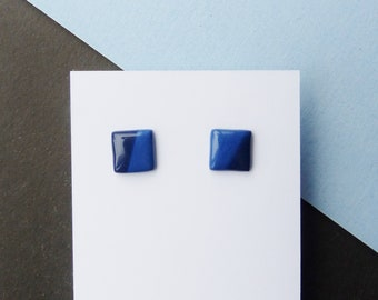 Stud Earrings, Blue Earrings, Square Earrings, Geometric Earrings, Geometric Jewellery, Navy Earrings, Mother's Day, Quirky Gifts, Studs