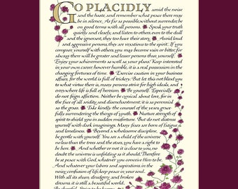 "Desiderata poem, 8x10"" Desiderata print, go placidly, Max Ehrmann, inspirational print"