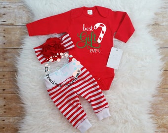 best gift ever baby girl christmas outfit newborn christmas outfit candy cane outfit christmas gift flower bow baby shower gift