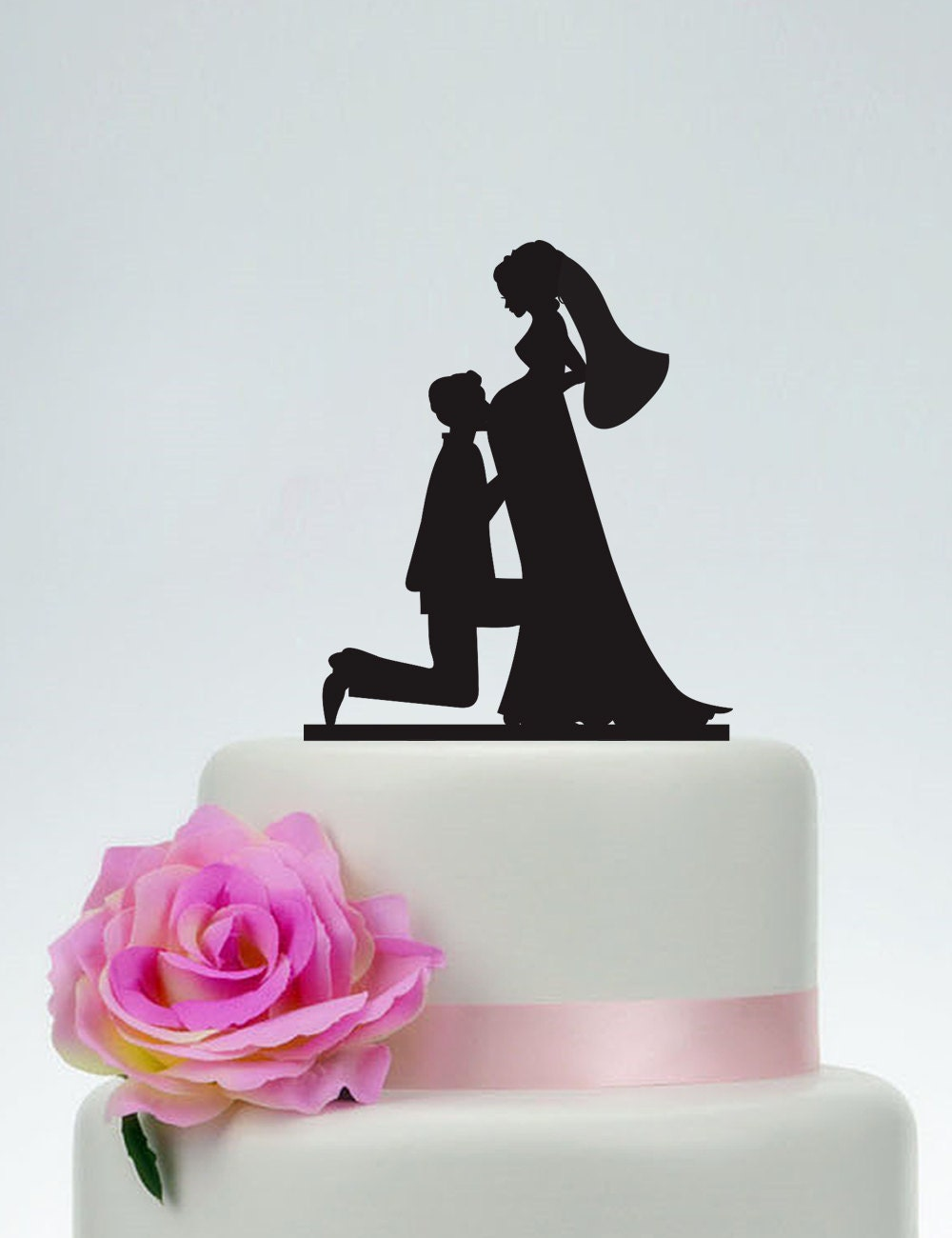 Pregnant wedding cake topperBride and Groom Silhouette Cake