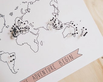 Giclee Art Print - illustrated map, travel illustration, let the adventures begin - wall art, poster, decor - size A4 or A3
