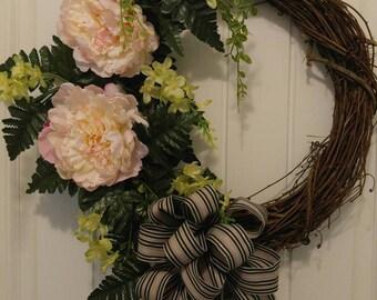 Flower Wreath, Grapevine Wreath, Summer Wreath, Spring Wreath, Door Wreath