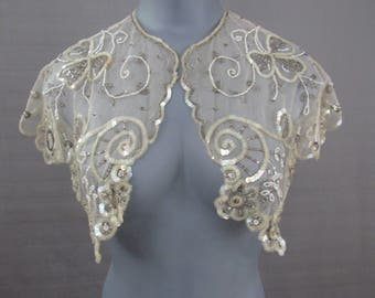 Vintage 1885 Victorian Collar Beaded & Sequined Net lace Shawl Bow Hand Sewn Clothing Fashion Costume Theater White Silver