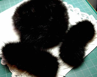 Black Real Fur Trim, 3 Pieces, total of 44 inches, Eco Natural Supply for crafting, Embellishment, Scraps, Fox, Clean: Ships to US for 8.61