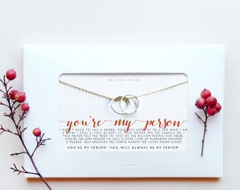 Bestfriend | You're My Person | Sweet Funny Dark Humor Gift for Best Friend Birthday Long Distance | Gold Filled Karma Linked Circle Ring