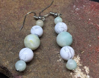 Natural Stone Earrings- Amazonite and howlite
