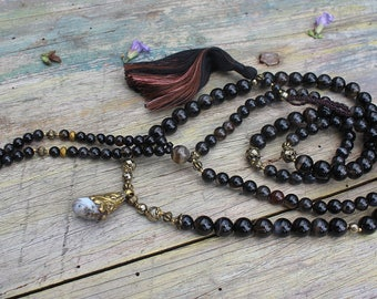 108mala beads, mala necklace, 108 mala, mala 108 necklace, 108 mala beads, long necklace mala, 108 stone mala, japa mala, boho necklace