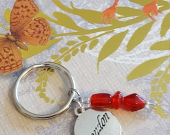 Keychain, London charm, Red glass beads OOAK