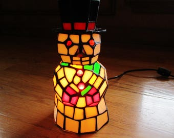 Vintage Christmas Snowman Stained Glass Light Accent Lamp