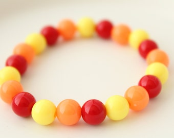 Candy Corn Bracelet - Fun Color Bracelet - Goodie Bags - Party Favors - Girls Bead Bracelet - Kids Fun Bracelet - Small Bead Bracelet