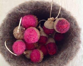 Acorn Pendant Needle Felted - Hot Pink Magenta, Bubblegum Pink, Dark Raspberry