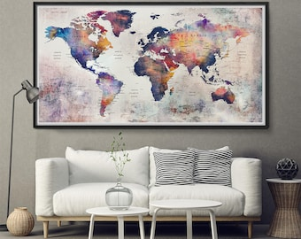 Push pin map etsy push pin personalized world map push pin travel map for push pins map with cities push gumiabroncs Images
