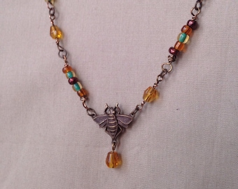 Bee Beautiful Pendant Necklace  Queen Bee Necklace- Assembled Necklace - Honey colored - Brass Necklace - Gifts for Her - Under 20 dollars