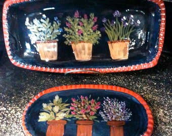 Herb Trio Redware Plates