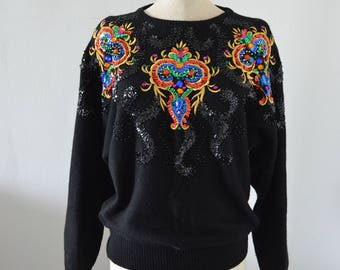 JEWELRY SEQUINED Sweatshirt Blouse Sparkling Embroidery Beaded Black/Colorful Sweatershirt M