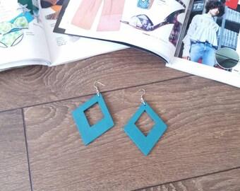 Chunky Wooden Earrings, Statement Wood Earrings, Teal Blue Earrings, Diamond Shape Earrings, Eco Friendly Jewelry