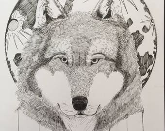 """Wolf, Spirit Animal, Hand Drawing, Pen and Ink, 9""""x12"""""""