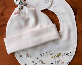 Woodland Animals Newborn Hat and Teething Bib Gift Set; Baby Cap, Drool Bib for Boy or Girl; Handmade Organic Cotton Baby Gift; Meadow Run