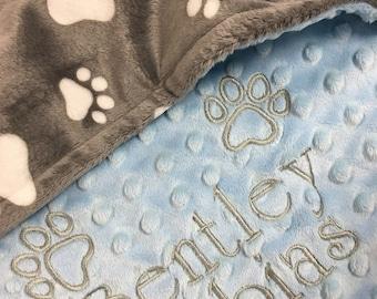 Paw Print Blanket, Gray Paw Print Dog Blanket, Pink Paw Print Puppy Blanket, Personalized  Puppy Dog Blanket, Medium Size