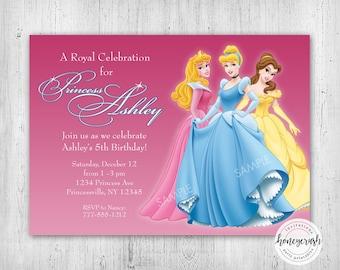 Disney Princess Birthday Invitation - Printable Digital File - Cinderella, Belle, Aurora