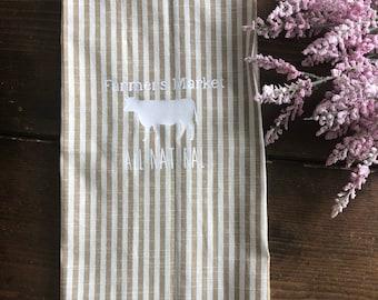 farmhouse all natural beef cattle - kitchen towel - farmhouse - flour sack
