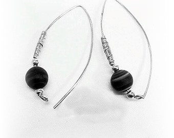 Sterling Silver Earrings, Silver and Black Earrings. Modern Sterling Silver Jewelry - E0910-06