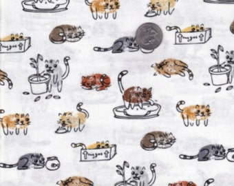 TIMELESS TREASURES Thumbprints Cats by Samarra White Background by the Yard