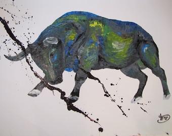 Animal Bull Painting  Abstract Painting on canvas, Original & HandMade Oil painting , Modern Art , By TOMER SHARABANI