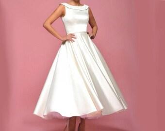 Bridal robe short boatneck - robe for marriage or religious length short boatneck satin custom pegs