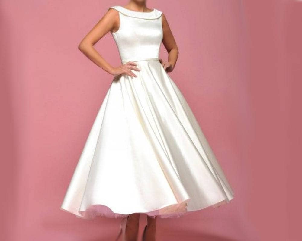 Bridal robe short boatneck robe for marriage or religious