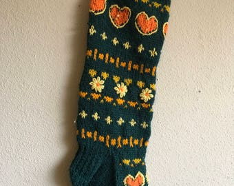 Vintage Hand Knit Christmas Stocking