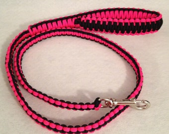 2, 4 or 6-ft Paracord Leash - Pink and Black
