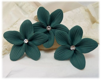 Teal Hair Flowers - Light or Dark Teal, Teal Wedding Hair Flowers