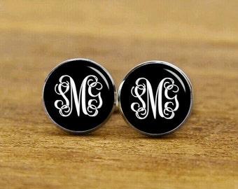 customized monogram cuff links, custom wedding cufflinks, monogarm initial cufflinks & tie tack for men gift ideas, groom cufflinks, tie pin