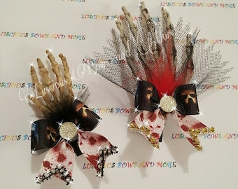 Jason Voorhees Skeleton Hands Hair Bow, Skeleton Hands Hair Bow, Skeleton Hand Hair Clip, Friday the 13th, Halloween Hair Bow