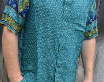 Men's Handmade Soft Indian Sari Silk Short Sleeve Button Down Dress Shirt - Teal Teardrop - Med or Large - Jabari I945