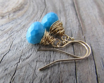 Turquoise Earrings, small, gold, wire wrapped, turquoise dangle earrings