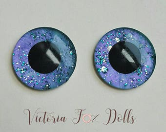 Neo Blythe Doll Custom Eye Chips Color Changing Metallic Paints Purple to Teal Gold Teal Glitter Handpainted Eyechips 14mm
