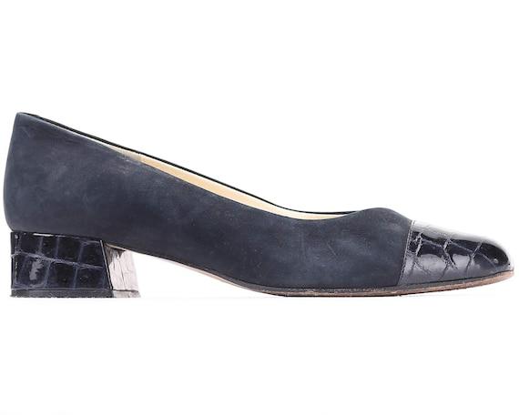 Black Flats Footwear Suede UK Luxury Slip 6 Vintage Navy size 80s Business Lady 5 Shoes Ons Croc 8 Cap Toe US EUR Shoes Italian Office 39 wIqYzX
