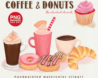 Coffee & Donuts Watercolor Clipart, bakery graphic set, watercolour cafe clipart