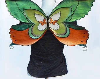 Leather Butterfly Wings, Wearable Fairy Costume Wings, Butterfly Swarm, Adult Costume for Halloween, Masquerade, Festivals
