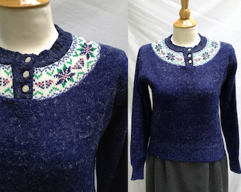 CLEARANCE 1980s Womens Dark Blue Nordic Style Acrylic and Angora Sweater from Collage, Size L (but fits like a modern S to M, made in Korea