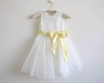 Light ivory flower girl dress with gold embroidery straps light ivory flower girl dress baby girl dress light ivory lace tulle flower girl dress with light yellow sashbows floor length mightylinksfo
