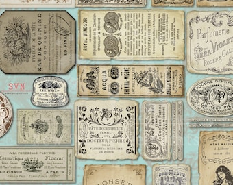 Vintage Apothecary Labels - Cosmetic Labels -  2 A4 - 30 labels - Digital collage sheet - Instant Download -