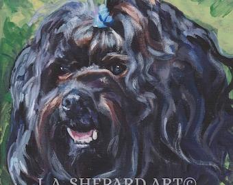 "RUSSIAN BOLONKA dog portait art canvas PRINT of LAShepard painting 8x8"""